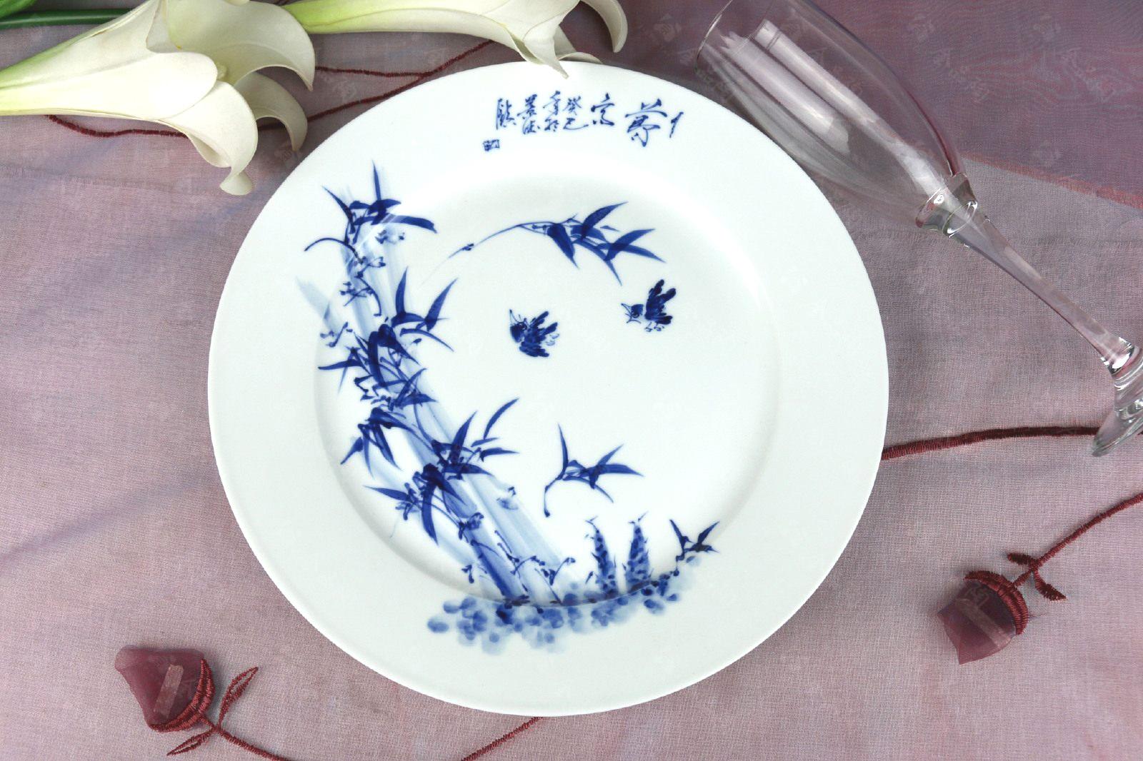66头釉下手绘青花中餐具--节节高_景德镇金品陶礼品瓷