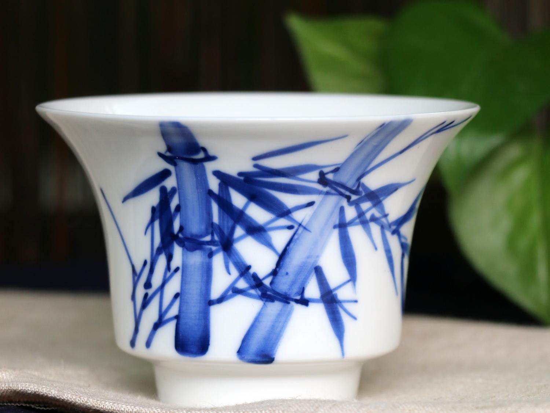 手绘青花盖碗--竹